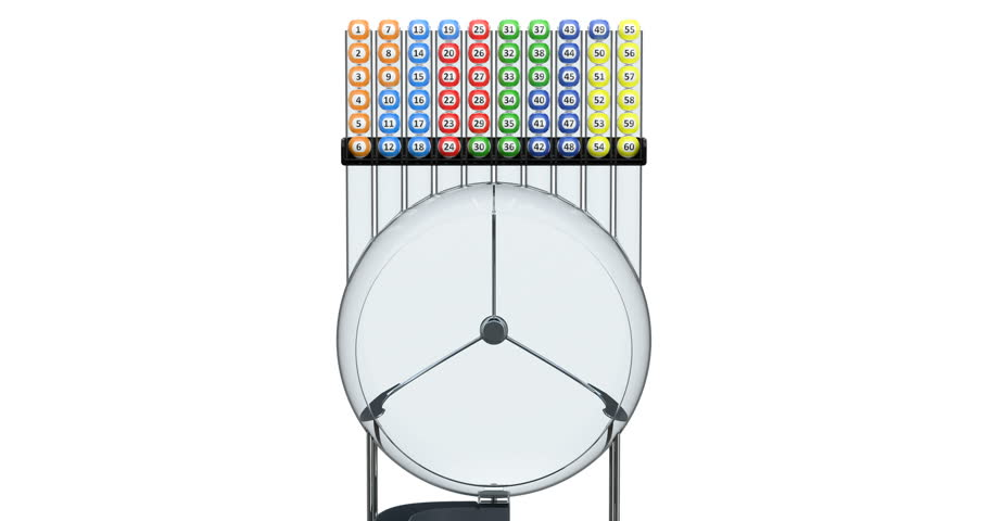 Lottery machine with lottery balls inside, animation. 3D rendering isolated on white background