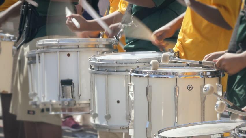 Drumline marching band drum corps drummers closeup loop