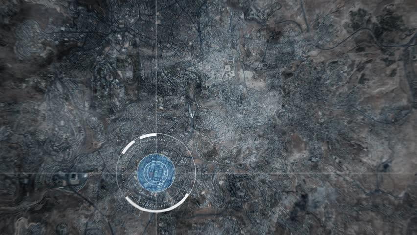 Surveillance drone or satellite camera scanning Jerusalem    Shutterstock HD Video #1018778737