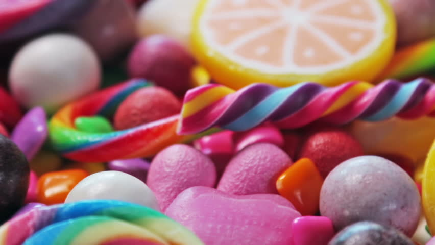 Variety of sweets, lollipops, candy, marshmallows, etc. Dolly video