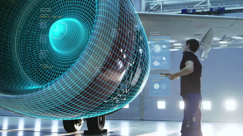Concept of: Visualization Of Futuristic Airplane Engine Maintenance Conducted by Engineer Holding Tablet Computer. Animation of Digitalization of Analytics Checking Optimal Functioning of the Plane. Royalty-Free Stock Footage #1018788091