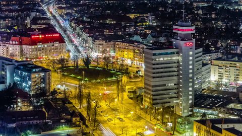 BERLIN, GERMANY - MARCH 12, 2014: Aerial view of buildings and RBB Tower near Messe in west Berlin, Germany. Timelapse view.