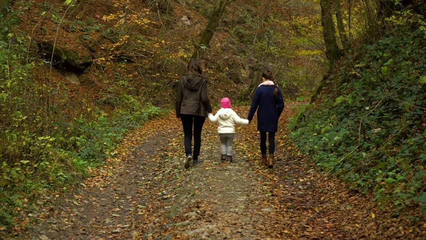 A young mother with her two children walks through the autumn forest. They walk along the forest path. They are happy. | Shutterstock HD Video #1018805263