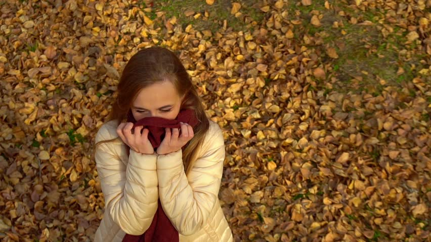 The girl froze in the autumn Park. Wrapped in a scarf, smiling, looking at the camera. | Shutterstock HD Video #1018815505