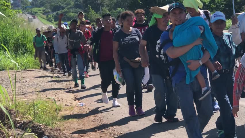 Chiapas, Mexico - November 1, 2018: Immigrant Caravan Celebrates Its Advance to the United States