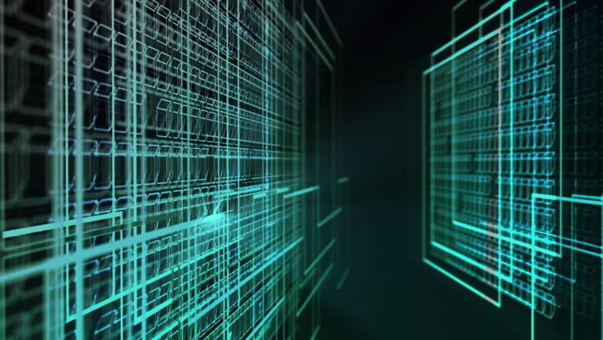 Camera Flying inside a Futuristic digital System. Flashing data panels. Concept of future, technology, innovation, database | Shutterstock HD Video #1018844467