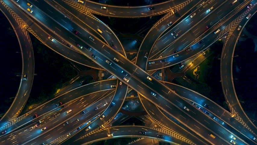 Yananlu Road overpass bridge with traffic at night aerial view from drone in Shanghai, China. #1018867387
