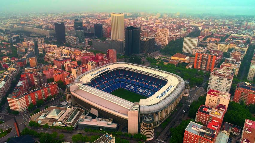 Madrid, Spain - May 28, 2018: Aerial view of Santiago Bernab?u Stadium as the home of Real Madrid CF. Madrid is the capital and the largest city in Spain. Royalty-Free Stock Footage #1018867867