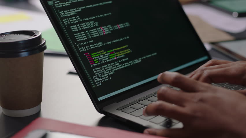 Close up hands engineers developing software app using digital laptop computer typing code on screen programmers coding internet security system designing artificial intelligence project in office | Shutterstock HD Video #1018870432
