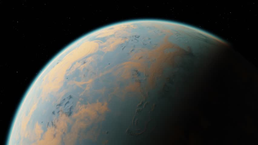 4K Exoplanet 3D illustration orbital view, light green cloudy planet from the orbit (Elements of this image furnished by NASA) #1018870786