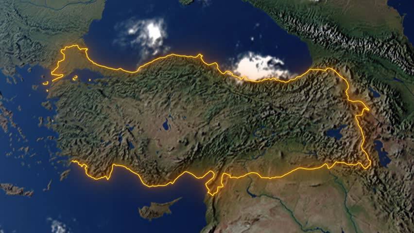 Realistic 3d animated earth showing the borders of the country Turkey and the capital Ankara in 4K resolution