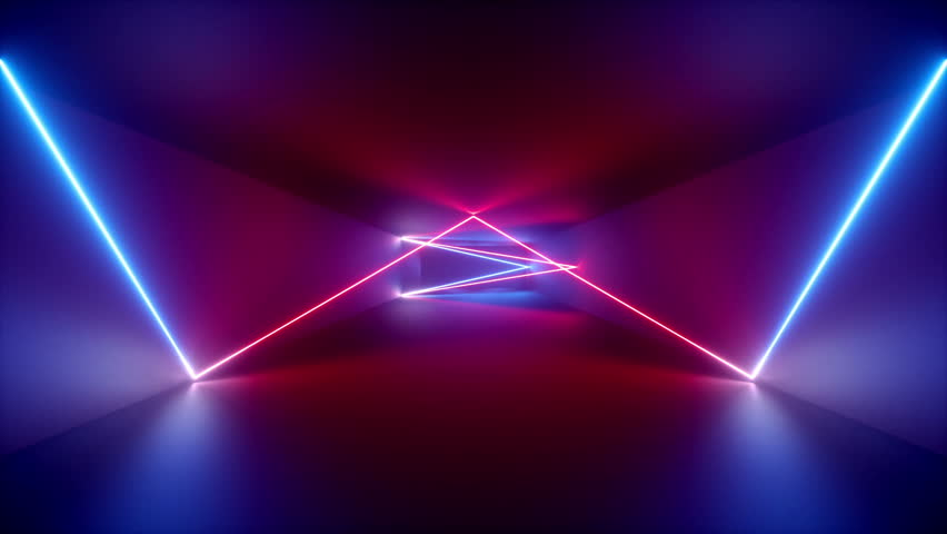 abstract background, neon rays inside tunnel, seamless corridor, glowing lines, fluorescent ultraviolet light, blue red pink purple spectrum, looped animation, 3d render