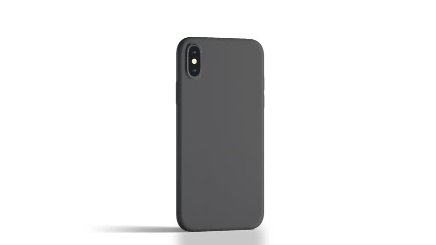 Blank black phone with matte case rotation, isolated, 3d rendering. Empty mobile in frosted cover mock up half-turning, back side view. Looped smartphone in bumper template.