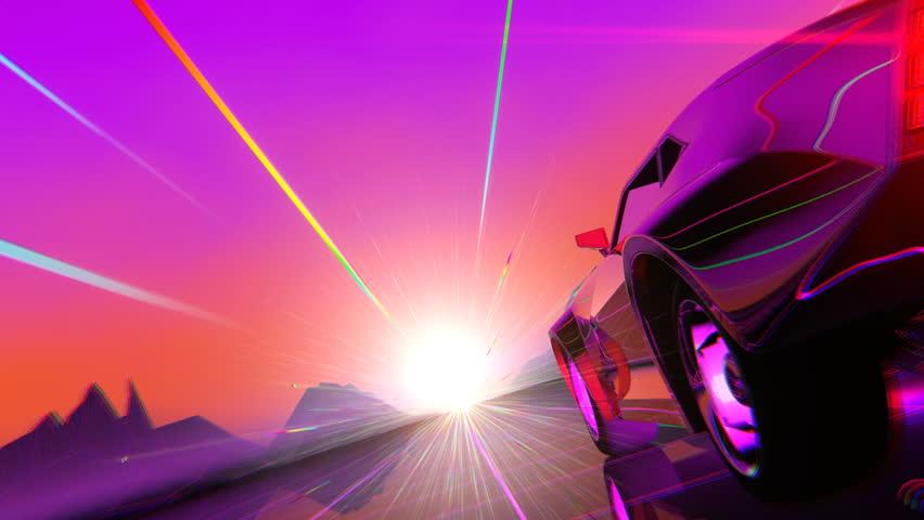 Retro-futuristic 80s style sci-Fi car background. Seamless loop 3D video animation | Shutterstock HD Video #1018898854
