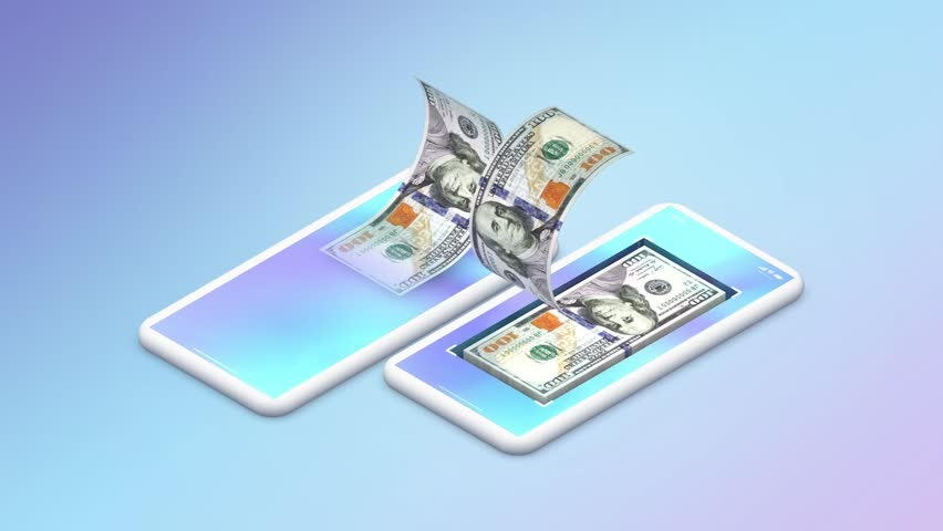 Transfer usd money by mobile smart phone