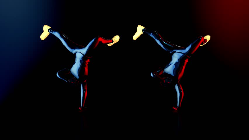 Male dance group performs in futuristic metallic neon costumes, 3D Rendering Animation.  | Shutterstock HD Video #1018934116