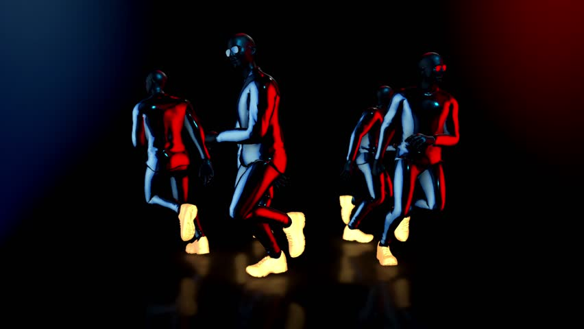 Male dance group performs in futuristic metallic neon costumes, 3D Rendering Animation. | Shutterstock HD Video #1018934119