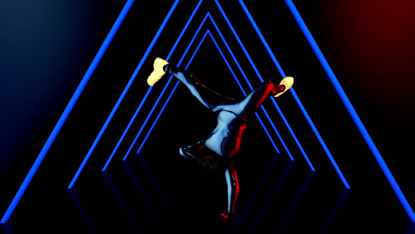 Male dancer performs in futuristic metallic neon costumes, 3D Rendering Animation. | Shutterstock HD Video #1018934122