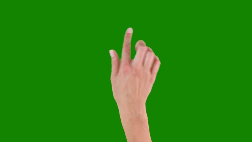 Various right and left hand gestures, different tempo. Touchscreen. Female hand showing multitouch gestures on green screen.