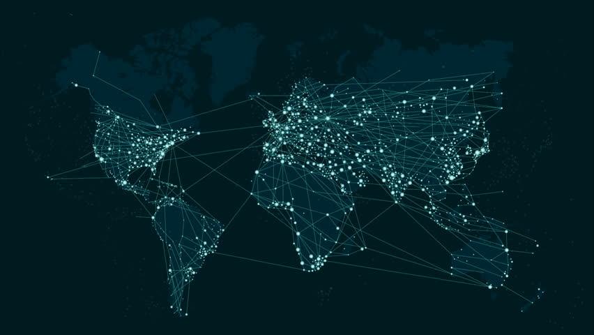 World map global technology and telecommunication network