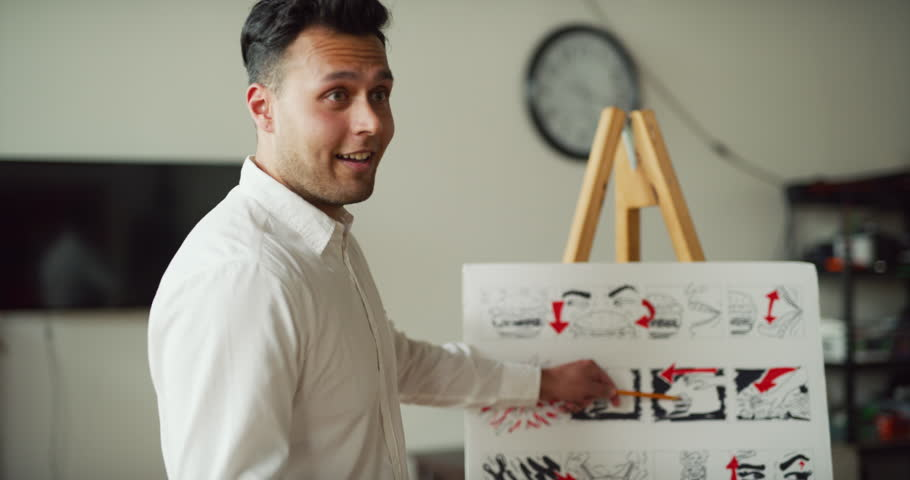 Designer gives storyboard pitch to potential clients for advertizment in modern well lit office during the day. Wide to medium shot with soft lighting on 4K RED camera.
