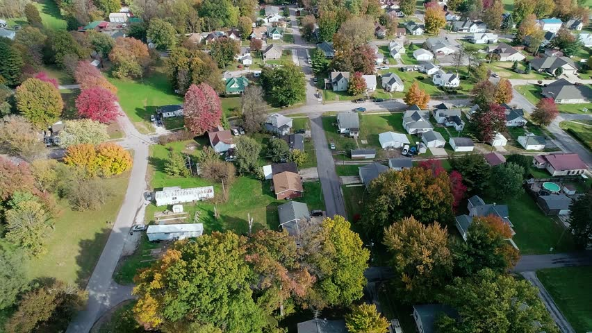 An incredible aerial shot of the midwest during the peak of the autumn color shift.   Shutterstock HD Video #1018959706