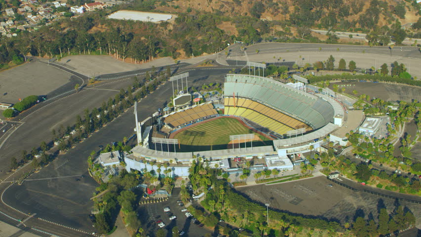 Los Angeles, California, USA - circa 2018: Aerial view Dodger Stadium on a sunny day in Los Angeles, California. Shot on 4K RED camera.