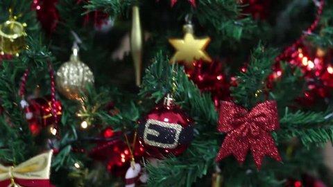 Closeup of Christmas tree background