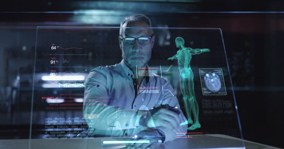 Medical Professional Doctor Analyzing Futuristic Virtual Hud Display Data In A Lab Future Of Medical Technology Concept Red Epic 8K Royalty-Free Stock Footage #1018995208