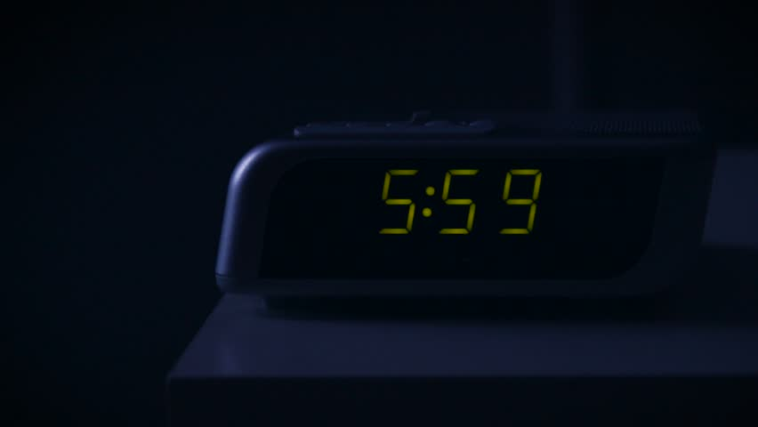 Ringing Alarm Clock and Snoozing Hand Sequence