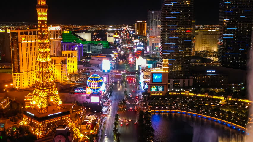 Las Vegas, Nevada / U.S.A. - October 28, 2018: An aerial view of the downtown area known as The Strip.