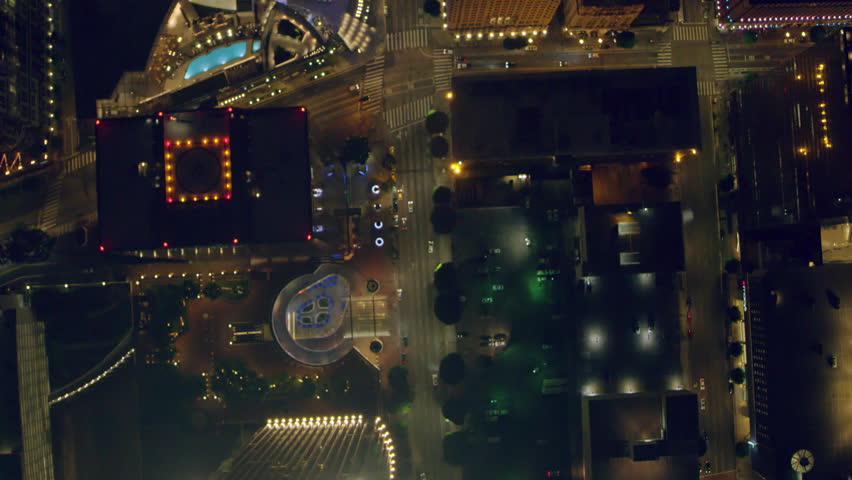 Aerial view of downtown city on a clear night in Los Angeles, California. Shot on 4K RED camera.