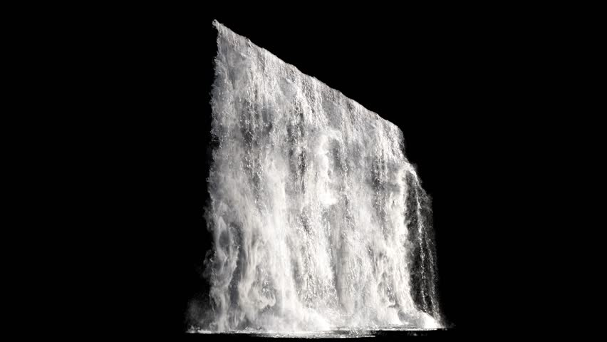 waterfall texture seamless loop, 4k, isolated on black with alpha and separate foam layer #1019024917