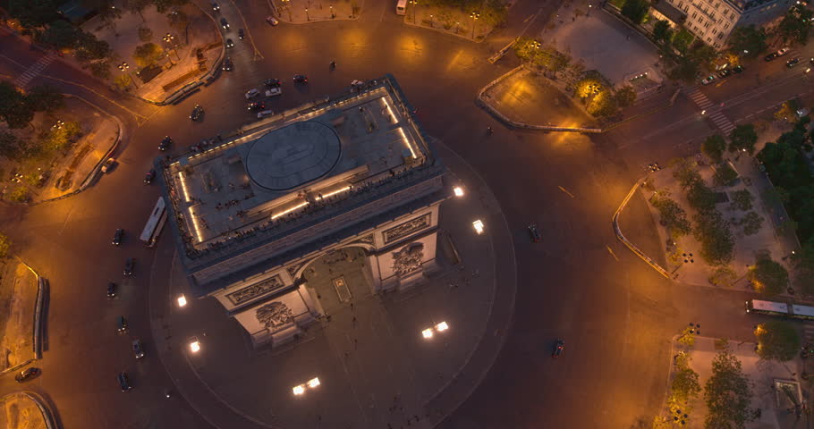 France Paris Aerial v56 Vertical detail view looking down over Arc de Triomphe and Place Charles de Gaulle 8/18