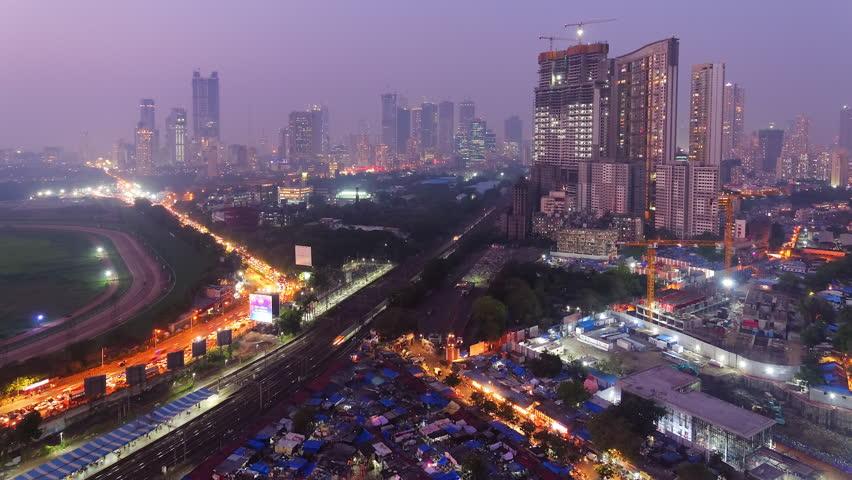 Mumbai,India: November 06, 2018: Time lapse footage of skyscrapers in Mumbai on Diwali showing skyline of Mumbai.