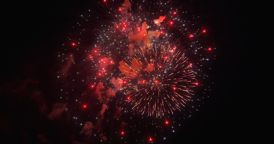 Fireworks flow realistick shoot footage in black sky slow motion wide screen filmistic cinematic version colored with redlogfilm. Shooted on camera Red Epic Dragon | Shutterstock HD Video #1019096095