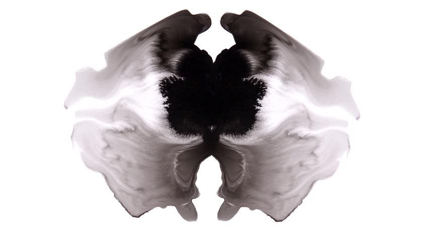 Black Ink Rorschach test Grunge Abstract