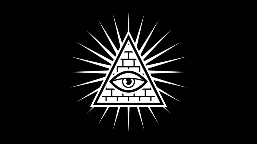 All seeing eye. Sign Masons. Black background. Alpha channel. Motion graphics