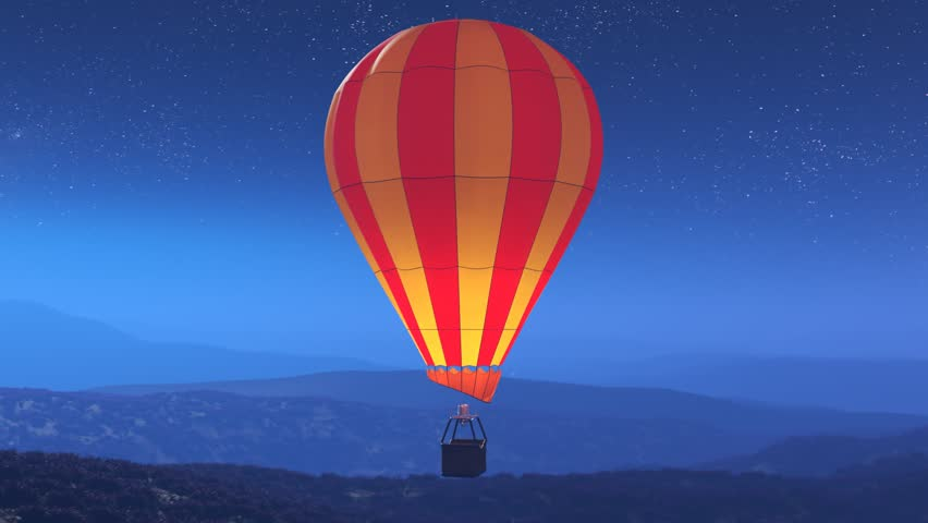 Colorful, glowing hot air balloons flying over the mountains during a night. Three large multi-colored vibrant balloons slowly rising against a dark sky with stars. Travel, adventure, festival.