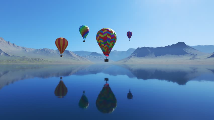 Colorful hot air balloons flying over the lake surrounded by mountains. Four large multi-colored balloons slowly rising against blue sky. Reflection on the clear water. Travel, adventure, festival.