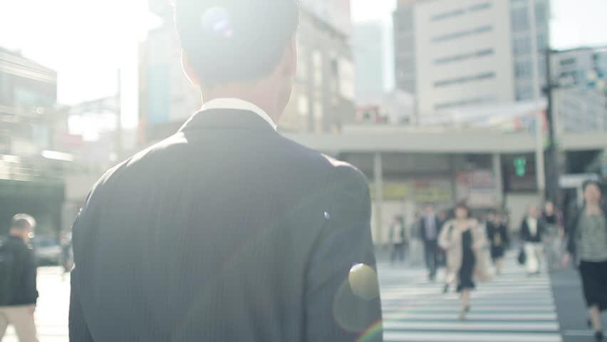 Walking businessman in Tokyo