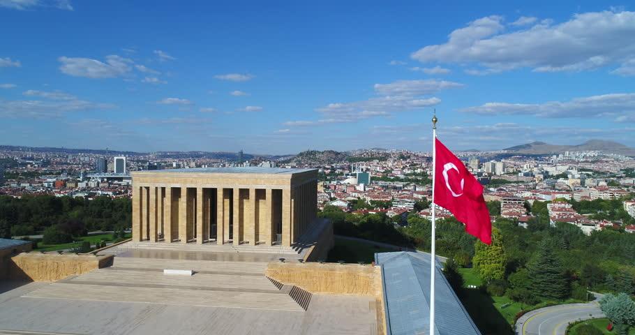 Aerial footage of Ataturk Mausoleum, Anitkabir, monumental tomb of Mustafa Kemal Ataturk, first president of Turkey in Ankara, Tomb of modern Turkey's founder lies here. Ankara, Turkey - June 25, 2018