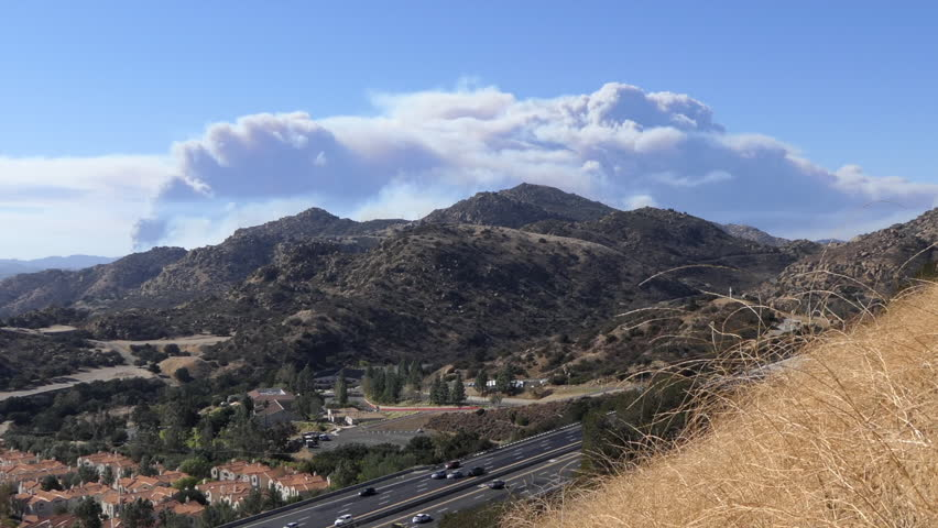 Los Angeles, California, USA - November 9, 2018:  Time lapse view of billowing smoke from Woolsey fire in Thousand Oaks, Simi Valley, Westland Village and Malibu. | Shutterstock HD Video #1019208205