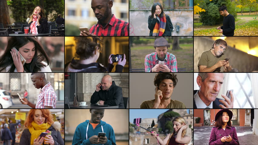 People,devices, communication. Multiscreen on people using smartphones | Shutterstock HD Video #1019223742