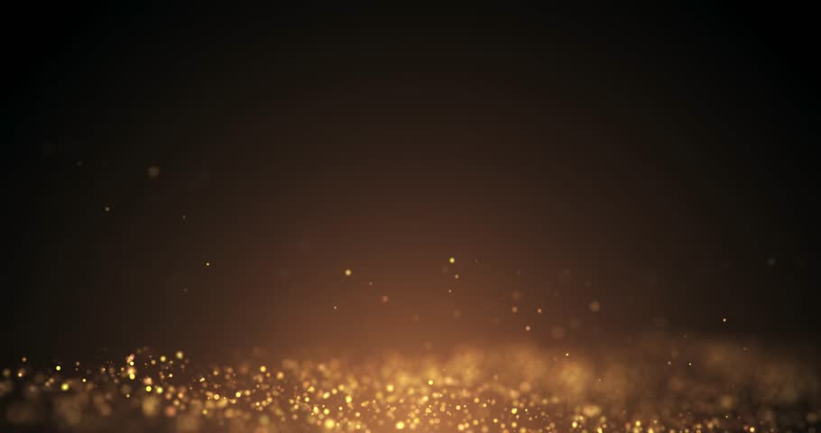 Gold Particles Moving Background.Particle from below. Particle gold dust flickering on black background. abstract Footage background for text.