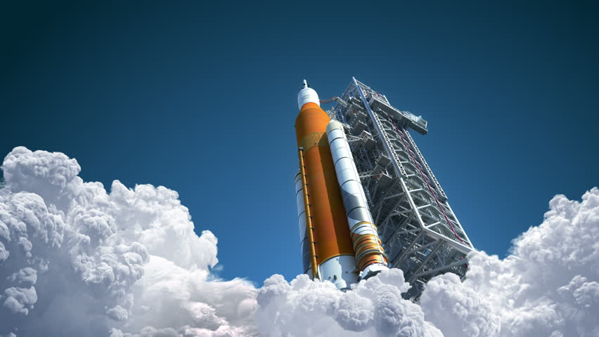 4K. Space Launch System Takes Off. 3D Animation. Ultra High Definition. 3840x2160. | Shutterstock HD Video #1019241745