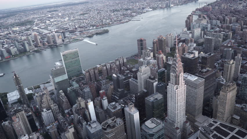 New York City Circa-2015, aerial view of Midtown Manhattan orbiting the Chrysler Building