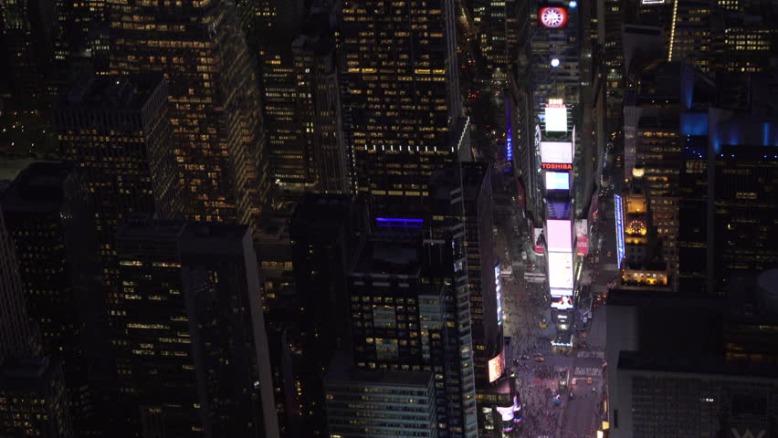 New York City Circa-2015, telephoto aerial view of Times Square at night.