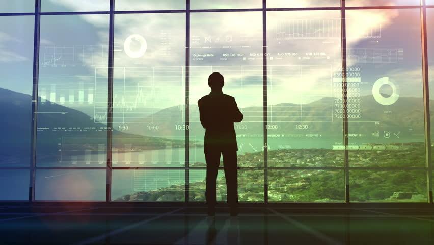 Businessman examines infographics data   Shutterstock HD Video #1019259136