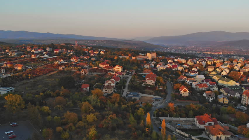 Uzhhorod Ukraine Europe Small town panoramic city view at sunset